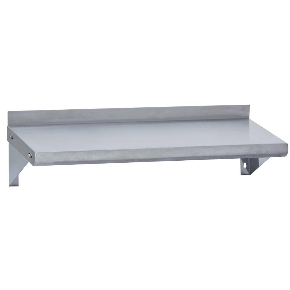 Fenix Sol Commercial Kitchen Stainless Steel Wall Mounted Shelf, 18'' W x 48''L, NSF Certified