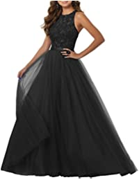 Beaded Prom Dresses A-Line Tulle Evening Party Dress Floor Length Formal Ball Gowns IMG232