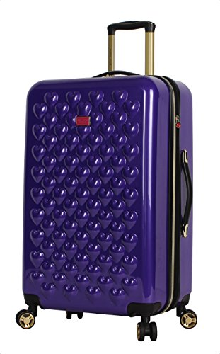 Betsey Johnson Luggage Hardside Midsize 26' Suitcase With Spinner Wheels (26in, Heart to Heart Purple)