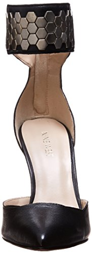 Nine West Cwercky de cuero del vestido de la sandalia Black