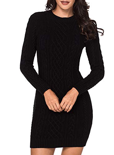 Dokotoo Womens Sweater Solid Ladies Long Sleeve Winter Crewneck Cozy Casual Chunky Cable Knit Ribbed Slim Bodycon Sweater Jumper Outerwear Dresses Black ()