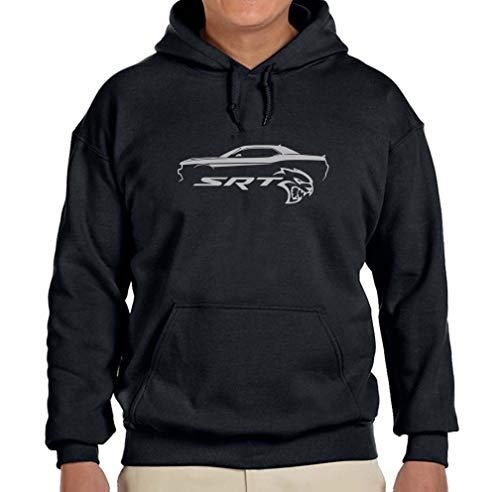(Dodge SRT Challenger Hellcat Classic Silver Color Outline Design Hoodie Sweatshirt Small Black)