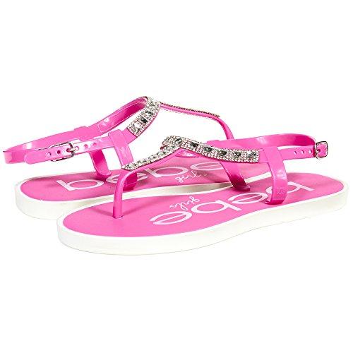 Pink Jeweled Sandal (bebe Girls Big Kid T Strap Slingback Thong Flats Sandals with Rhinestones Size 2/3 Fuchsia)