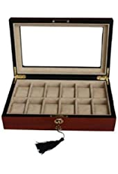 Oineh Elegant Wood 12-Compartment Display Case Box with Lock and Key, Cherry