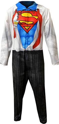 Superman Men's Clark Kent Union Suit, Oxford White, -