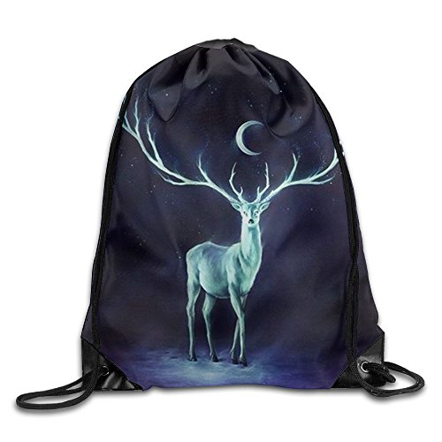 Training Gymsack Backpacks Night Deer Fashion Durable Polyester Gym Drawstring Knapsack Bags For Shoes from trgfdlamg