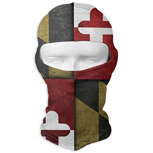 (LJBBJL1 Grunge Maryland State Flag Balaclava Face Mask Hood Outdoor Sport Hat for Ski,Cycling,Motorcycling,Climbing)