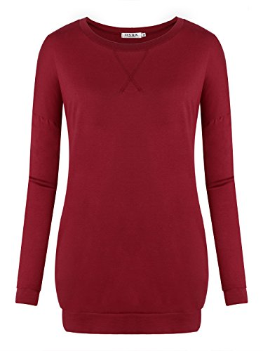 DSUK Ladies Tunic Tops for Leggings, Ladies O Neckline Pocket in Side Trim Side Slit Knit Tees Relaxing Hipster Perfect Elegant Designs Leisure Wear Plain Style Tunic Wine Red XL