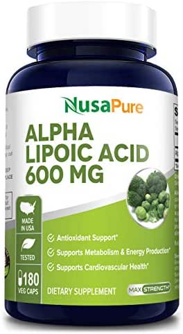 Alpha Lipoic Acid 600mg per Caps 180 Veggie Capsules (Non-GMO & Gluten Free) - Pure ALA Capsules - Ideal Formulas Supplement for Healthy Weight Management, Athletic Performance