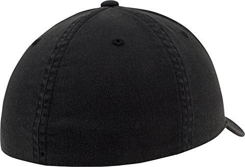 Acabado Gorra de de algodón negro con béisbol Flexfit Unisex Lavado Negro aBRqR