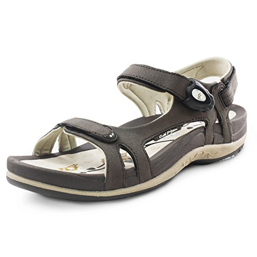 Gold Pigeon Shoes GP Signature SNAP Lock Sandals for Women: 9179 Brown, EU39 ()