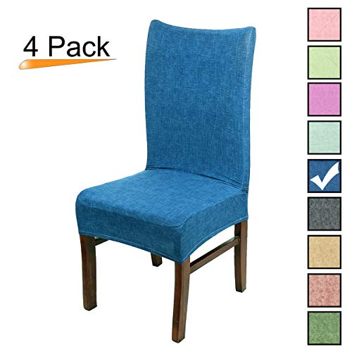 Stretch Dining Room Chair Covers Soft Spandex Seat Protector Removable Slipcover for Hotel Wedding Party Set of 4, Dark Blue