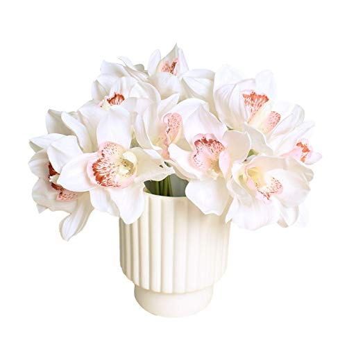 Flower Head - 6 Heads Tablde Coration Flower Diy Wedding Bride Hand Flowers Home Decor Artificial Orchid White - Crown Screw Ivory Leis Designed Costume Bride Accessories Head Artificial Ba
