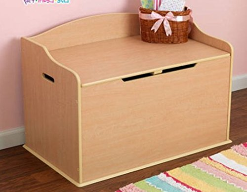 Toy Box, Natural, Functional , Safety Hinge on Lid Protects Young Fingers from Getting Pinched, Made of Wood, Doubles as a Bench for Additional Seating, Bundle with Expert Guide for Better Life by Home X Style