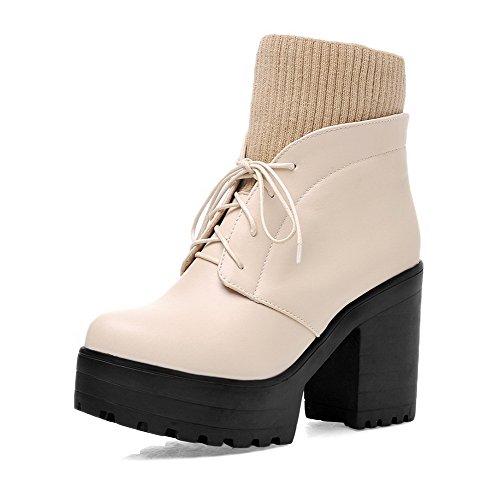 AgooLar Damen Niedrig-Spitze Reißverschluss Hoher Absatz Rund Zehe Stiefel mit Schnalle, Cremefarben, 38