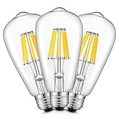 CRLight 8W LED Filament Bulb E26 Medium Base, Vintage Edison Style ST21(ST64) Antique Shape, 2700K / 3200K / 4000K / 6000K, Dimmable / Non-dimmable, 1/3 Pack