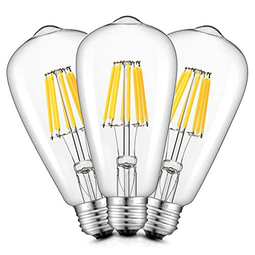 CRLight 8W LED Edison Bulb 4000K Daylight White 800LM Dimmable, 80W Incandescent Equivalent, Replace 16W Compact Fluorescent CFL Bulbs, E26 Base Vintage ST64 Clear Glass LED Filament Bulbs, 3 Pack ()