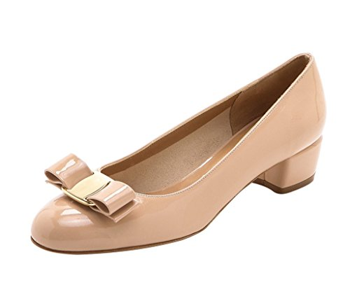 Guoar Mujeres Cerrado Toe Block Heels Patente Bowknot Bombas Zapatos Bajos Tacones Para Vestido Partido Desnudo Patente