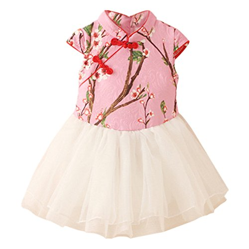LittleSpring Little Girls' Dress Chinese Style Size 2T Pink (Chinese Chinese Dresses Dress)
