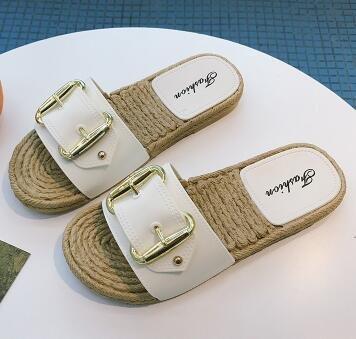 Langmotai Tricotés Chers White Rivet Sandaleschaussons Rivets Mesdames Boucle Pêcheur Télévision Beach Chaussons Chaussures rrwq4O