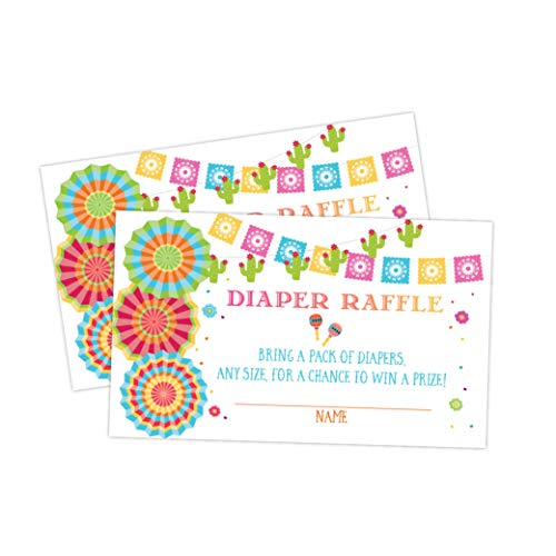 Fiesta Mexican Baby Shower Diaper Raffle Card, Diaper Raffle Ticket, 50 Count