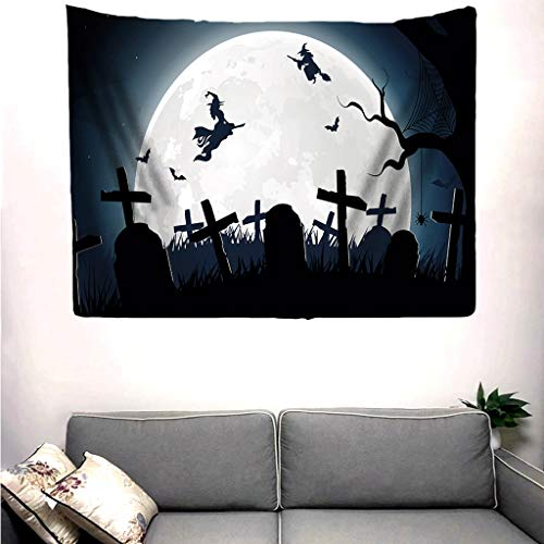 Not So Scary Halloween Party Map (Bosji Halloween Tapestry Haunted House with Horror Atmosphere Mysterious Scary, Night Moon Wall Hanging Tapestries Bed Cover Wall)
