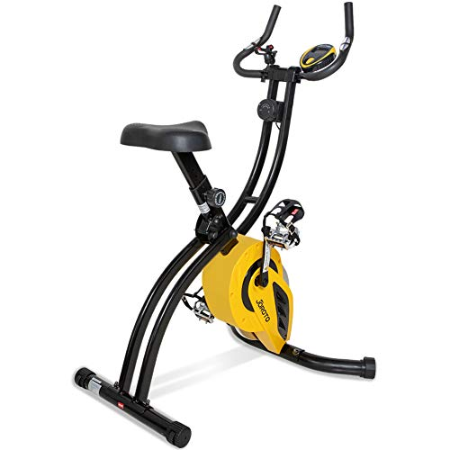 JOROTO Folding Magnetic Exercise Bike – Indoor Cycle Stationary Bikes Cycling Workout Equipment for Home with Pulse Sensor & 16 Level Resistance