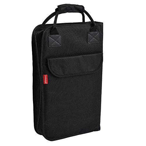 ammoon Drum Stick Bag Backpack Drumsticks Mallet Bag Case Water-Resistant Oxford Cloth Durable Zippered Padded with External Pockets Floor Tom Hooks - Bag Tom Drumstick Floor