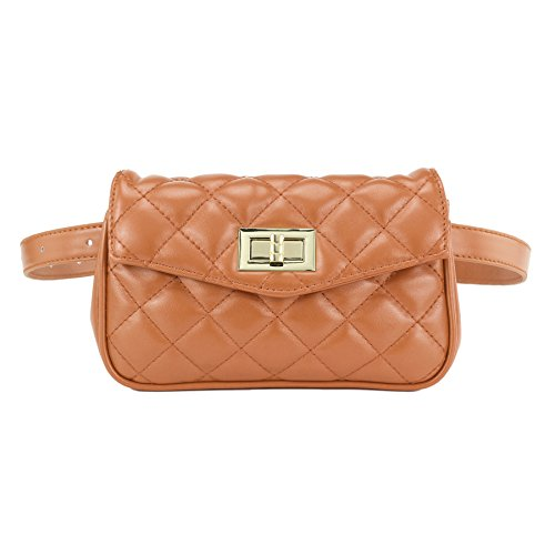 ZORFIN Women Fashion Quilted Leather Fanny Pack Classy Wasit Bag with Two Belts by ZORFIN