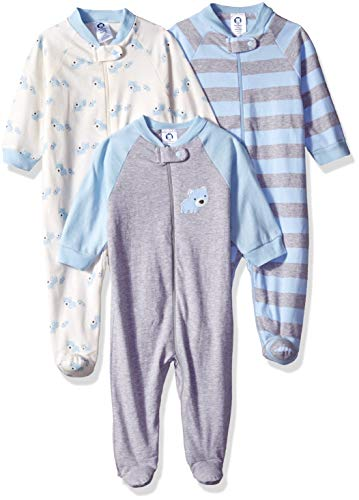 Gerber Baby Boys' 3-Pack Organic Sleep 'N Play, Stripe Bear, Newborn