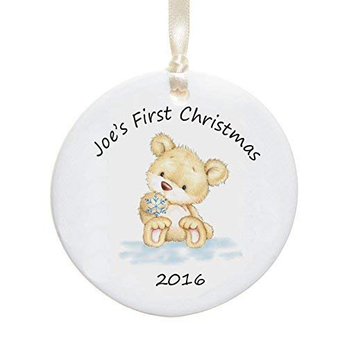 (Cheyan Personalised Baby's First Christmas Ceramic Bauble Bear Snowflake Design 2018 Ceramic Christmas Ornament)
