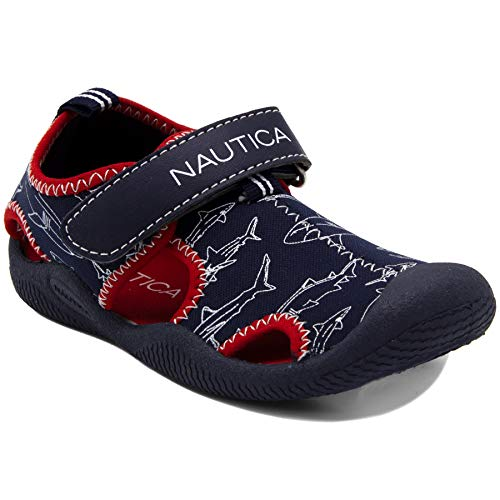(Nautica Kids Kettle Gulf Protective Water Shoe,Closed-Toe Sport Sandal-Shark Print-12)