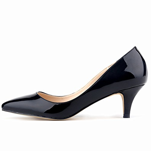 PU Renly Custom Work Dress Leather Black Pumps On Slip Made Shoes Womens ZUOFnWUB
