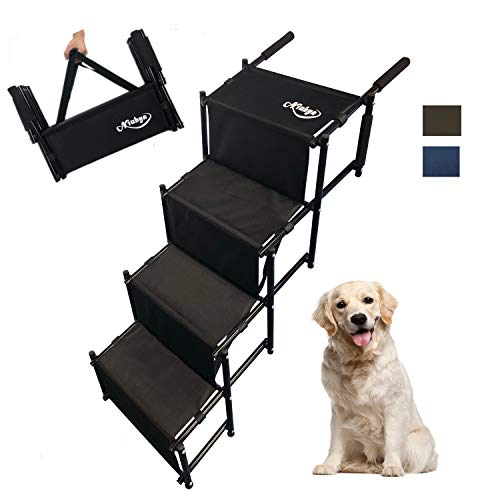 Niubya Folding Car Dog Steps Stairs, Lightweight Accordion Portable Rustproof Metal Frame 4 Pet Steps Ladder with Durable Waterproof Ballistic Nylon, Great for Car, Truck, SUV and High Bed.Black.