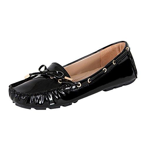 Andrew Stevens Women's Caden Black Patent Leather Mocassin Flat - Olivia Fall Fashion Palermo