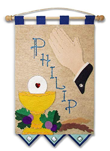 First Communion Banner Kit - 9 x 12 - Praying Hands - Blue