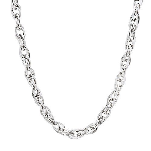 (The Bling Factory 3.5mm Durable Solid Stainless Steel Double Rope Cable Link Necklace, 22 inches)
