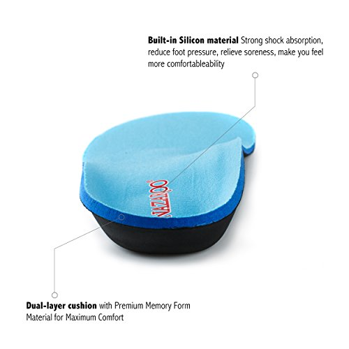Orthotic Shoe Insoles for Flat Feet by NAZAROO, Shoe Inserts for Plantar Fasciitis, Relieve Feet Pain, Heel Pain and Pronation for Men and Women (US Mens 8-8.5 | Womens 10-10.5) by NAZAROO (Image #4)