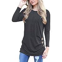 Chvity  de la mujer sólido cuello redondo algodón Camisetas de manga larga Tops Casual con botón