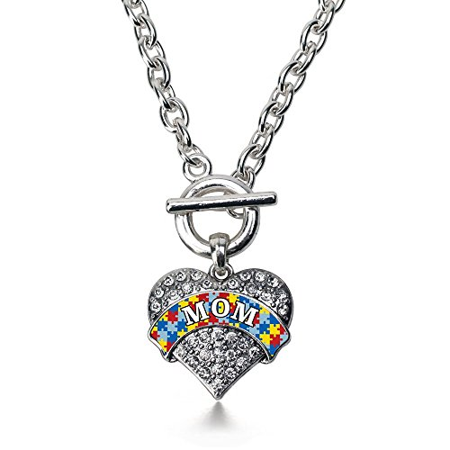 Crystal Heart Toggle (Inspired Silver Autism Mom Pave Heart Toggle Necklace Clear Crystal Rhinestones)