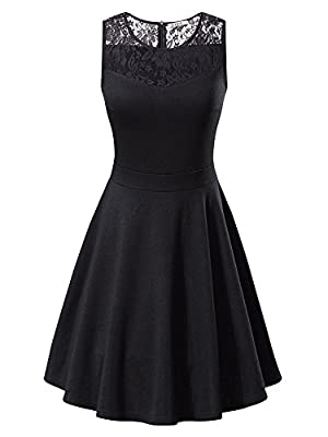 KIRA Women's Sleeveless A-Line Evening Party Lace Cocktail Dress