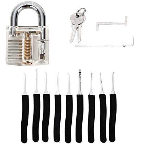 LOMATEE Lockpicking Set 11-teiliges Einsteiger Pick Set Transparente Übungs-Vorhängeschlösser + Werkzeuge Nachschließen