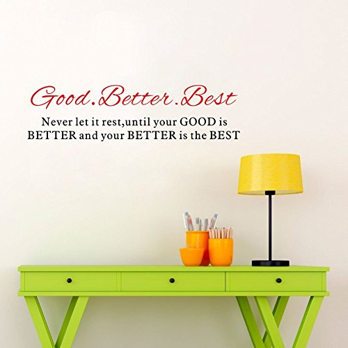 trfhjh Quotes Wall Sticker Home Art Good Better Best Inspirational Quotes Wall Sticker Removable Art Sayings Home Decor Bedroom Living Room Kids Room by trfhjh