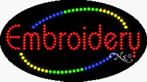 Embroidery Sign - 15x27x1 inches Embroidery Animated Flashing LED Window Sign