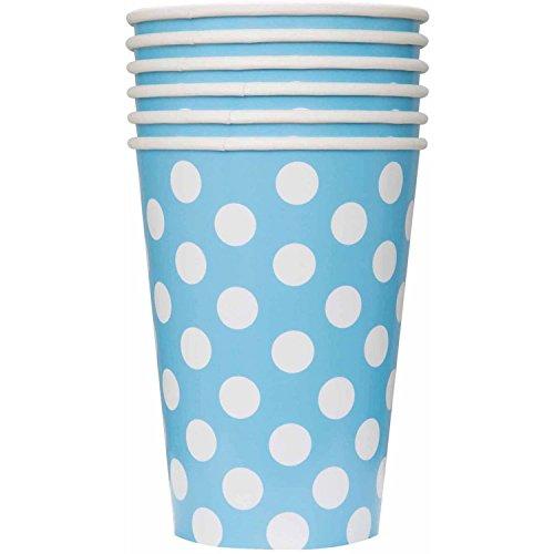 12 oz Light Blue Polka Dots Paper Cups, 6ct