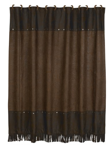 - HiEnd Accents Faux Tooled Leather Western Shower Curtain and Hooks, Chocolate