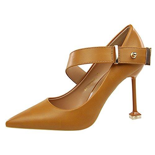 Sandalias de Qiqi con Solo Pequeña de Tacones Amarre Adolescente Baile Zapatos Punta Altos Brown Salvajes Tribunal Zapatos Fresca de ranurado Zapatos Zapatos Xue dXtaqwCX