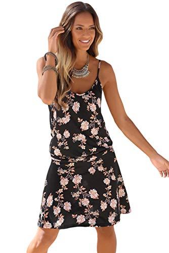 f5f8edd5e2 Silk Road Original Women Blooming Flower Print Summer Slip Dress Black L