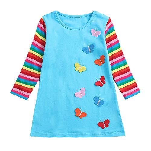 Girls Rainbow Stripe Butterfly Party Dress Pageant Cotton Dress Kids 2-6 Years]()