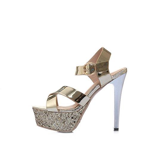 AmoonyFashion Womens Solid Blend Materials Spikes Stilettos Open Toe Buckle Sandals Gold NV7n8BM4cS